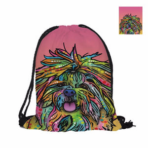 Shih tzu   Double Sided  School Bag  Polyester Texture