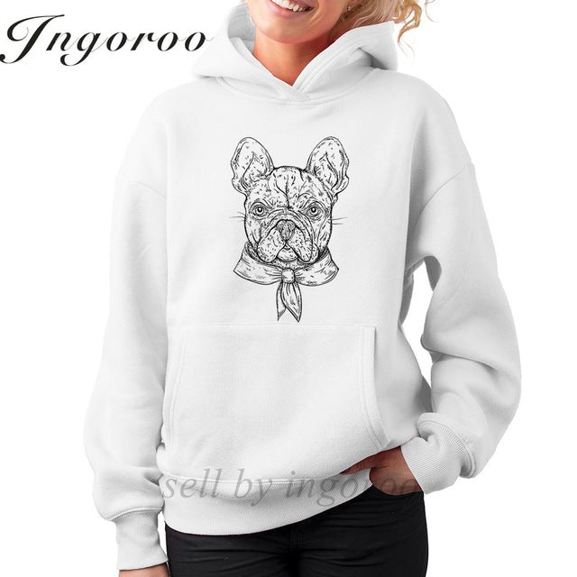 French Bulldog Vintage Black And White  hoodie for women