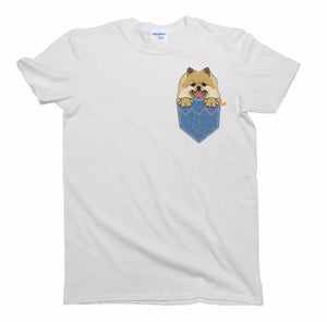 Mens Fashion Stranger Things Print Original Pomeranian Pocket Dog T-Shirt Mens Ladies Unisex Fit 3D Printed Tee Shirt