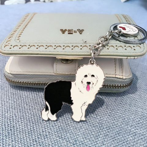 Pet Old English Sheepdog key chain metal dogs