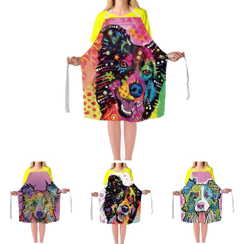 Border Collie Aprons Colorful Art