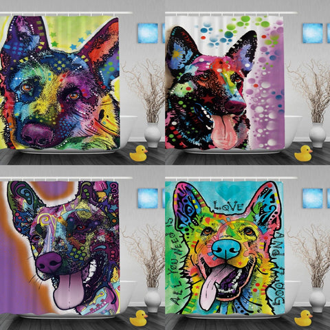 German Shepherd Shower Curtains  Waterproof Fabric Shower Curtain Liner For Bathroom