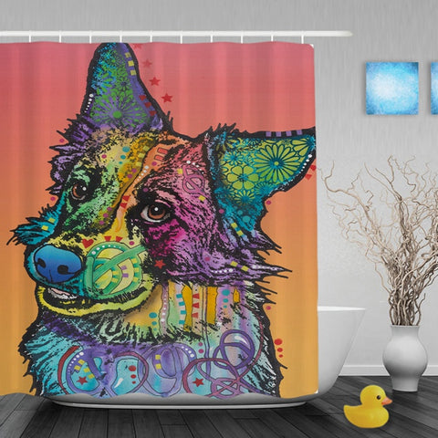 Border Collie Shower Curtain With Hooks