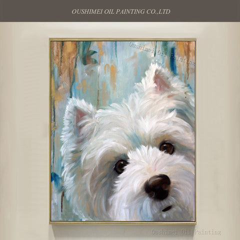 West Highland White Terrier Oil Painting On Canvas