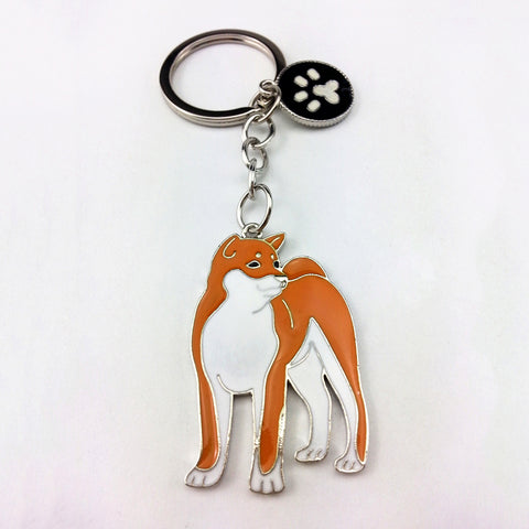 Akita Inu pendant key chains silver color metal alloy