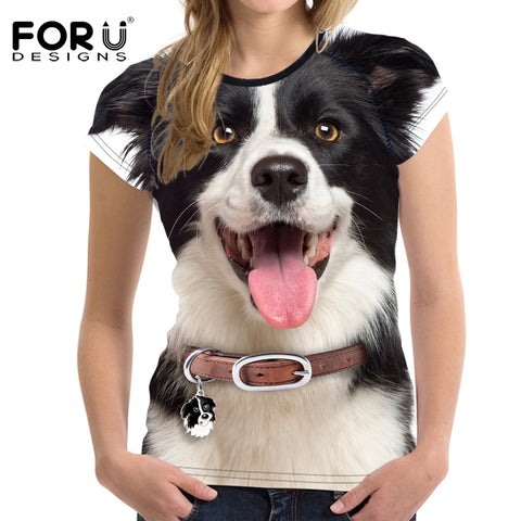 Women Summer Basic T shirt  Crop Tops White 3D Border collie