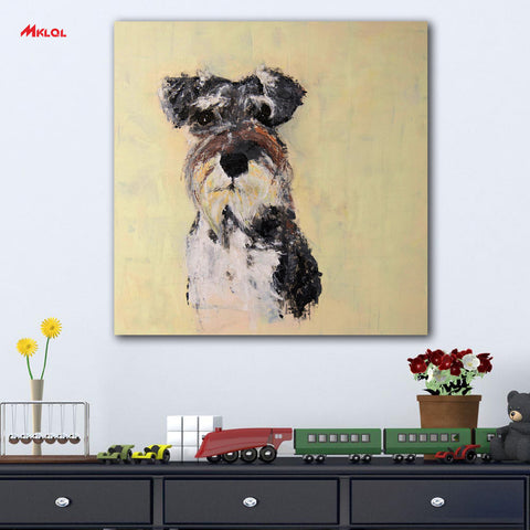 Schnauzer Oil Painting no frame