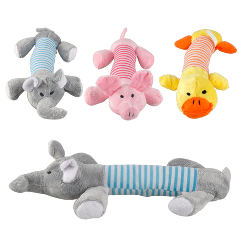 3  Squeaky Sound Plush Toys Duck, Pig, Elephant