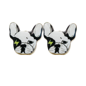pop star  French Bulldog stud Earrings