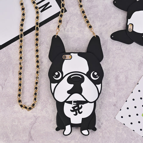 French Bulldog soft Silicon Case cover For iPhone 7 8 Plus 6 6s Plus 5 se 5s with pearl chain