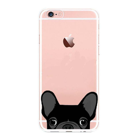 Lovely pocket French Bulldog TPU Phone Case For iPhone 5 6 6 s plus 7 7Plus Mobile Soft is the Back Cover For iPhone X Case