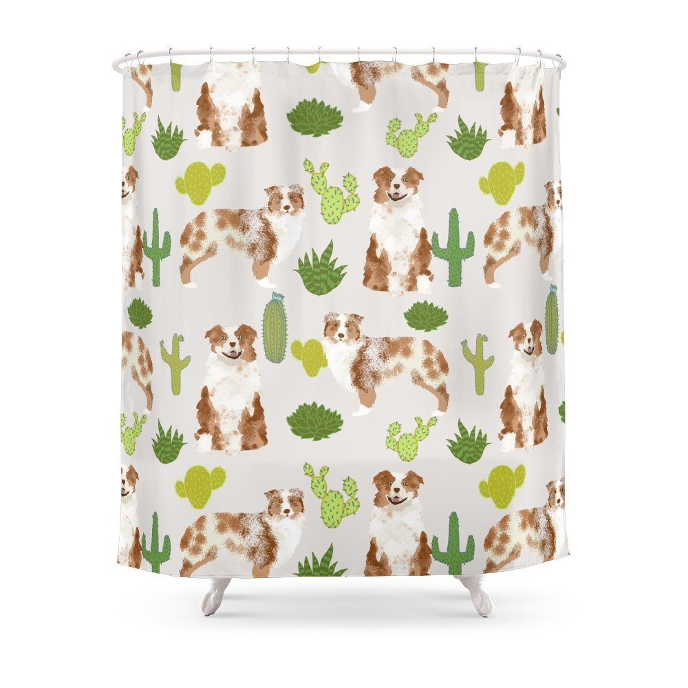 Shower Curtain for red merle and red tri Australian Shepherd lovers