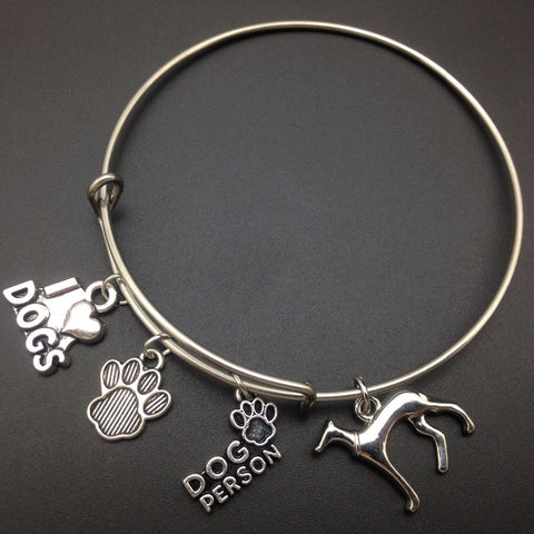 Greyhound Dog Charm Stainless Steel Expandable Wire Bangle