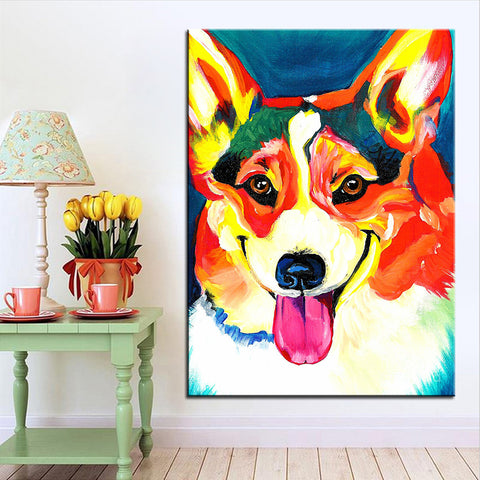 Welsh corgi Pembroke Large size Print Oil Painting No Frame