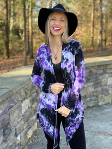 Purple/black stretch cardigan