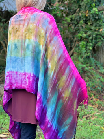 Sunset rainbow shawl