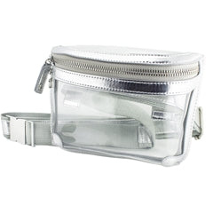 Metallic Silver Clear Belt Bag