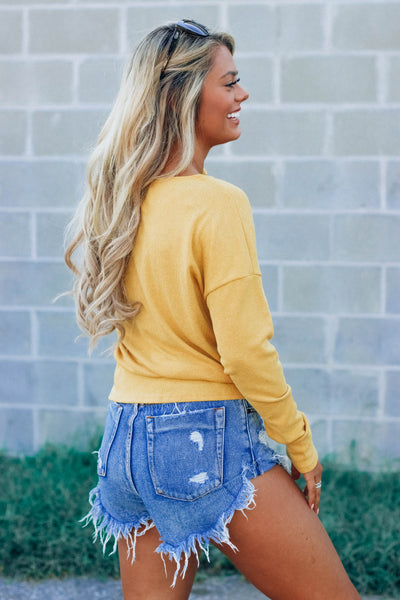 Elliot Mustard Knot Top