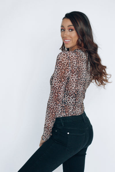 Cheetah Print Sheer Top