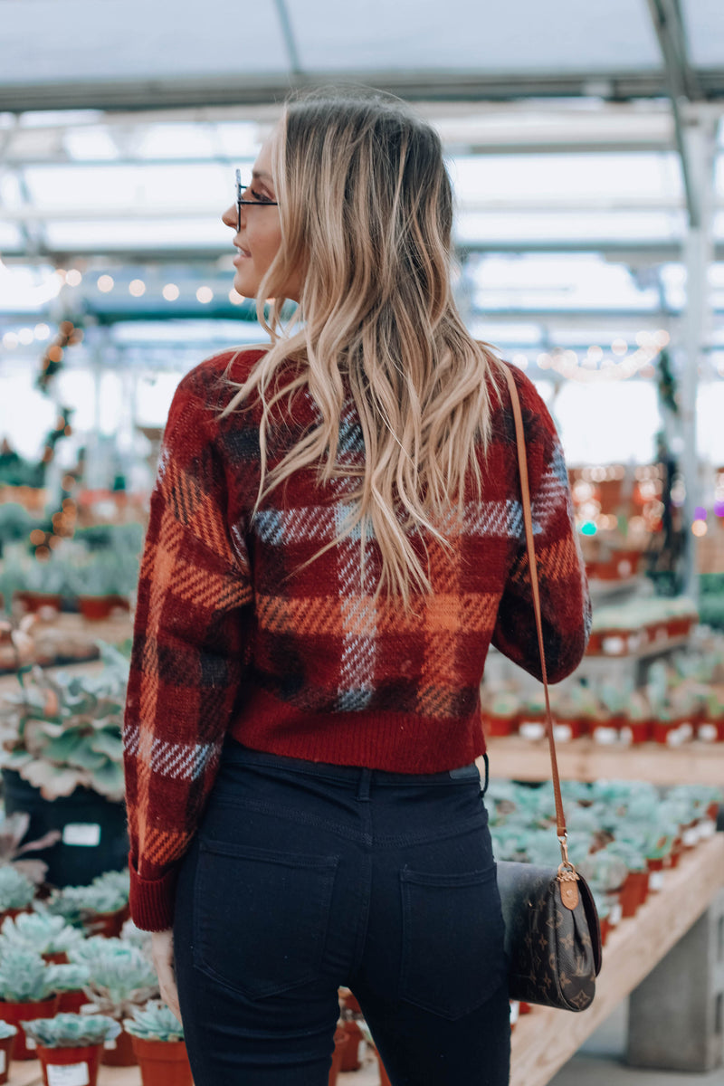 Hillary Plaid Crop Sweater