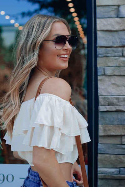 Cream One Shoulder Top
