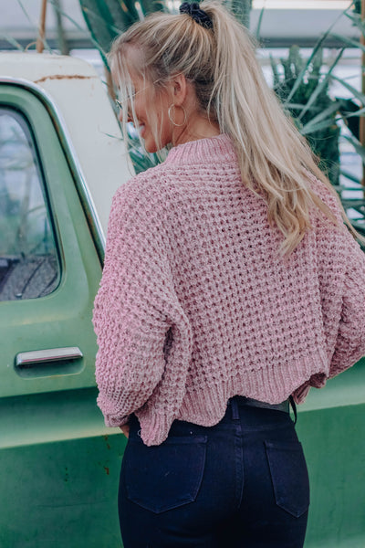 Dusty Pink Tallon Scallop Cropped Sweater