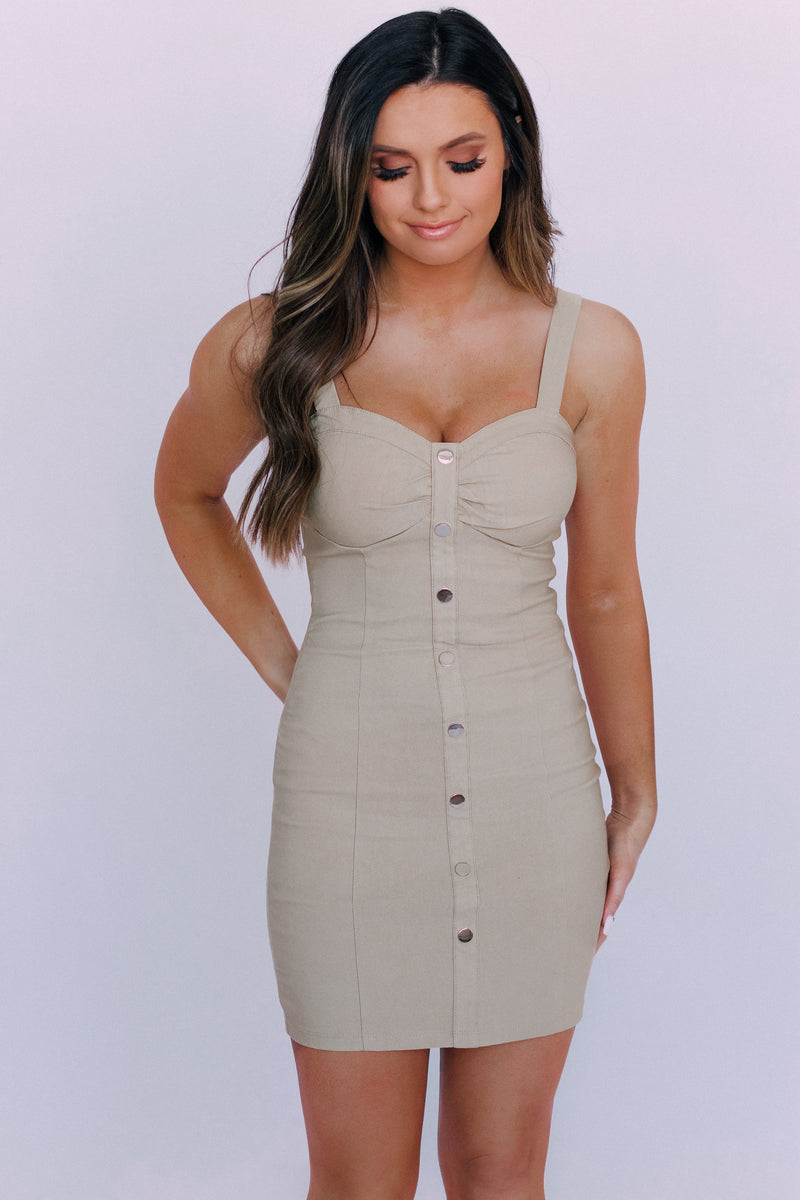 Nude Bustier Mini Dress