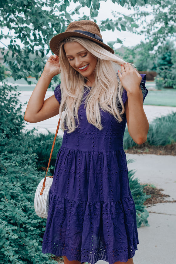 FLASH SALE: Navy Zaylee Woven Dress
