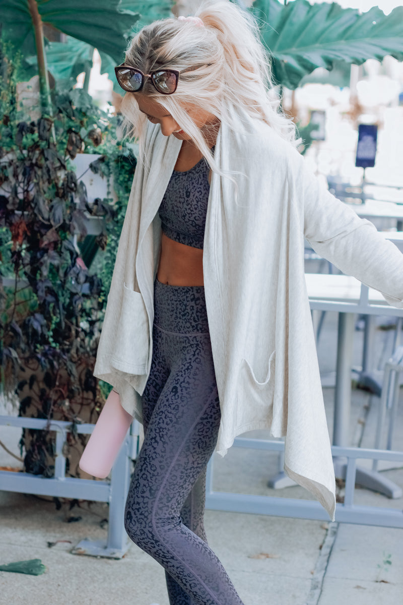 Grey High Low Athleisure Cardigan