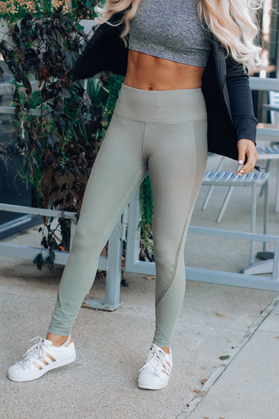 Light Olive High Rise Zig Zag Leggings