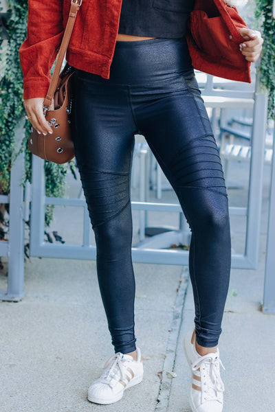 Foiled High Rise Moto Leggings