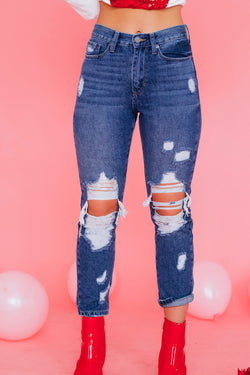 Dark Wash Distressed Girlfriend Denim