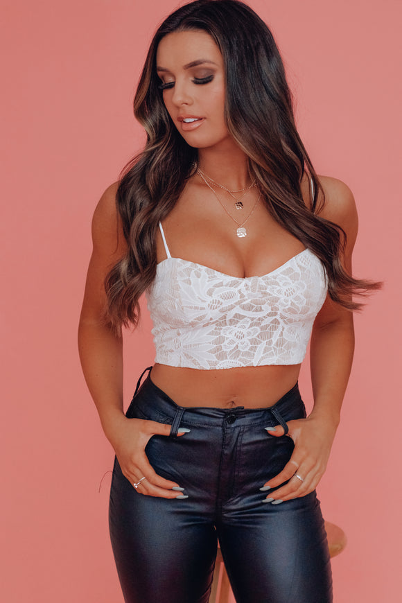 White Gracie Lace Crop Top