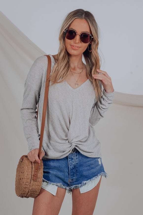 Gigi V-Neck Grey Knot Top