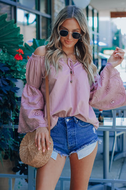 Christina Eyelet OTS Top