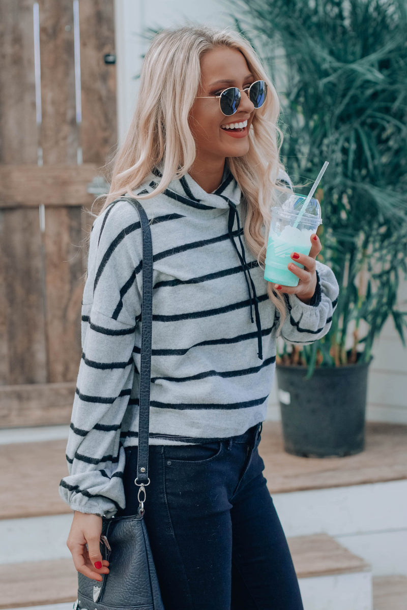 RESTOCKED:Grey Ella Stripe Pullover