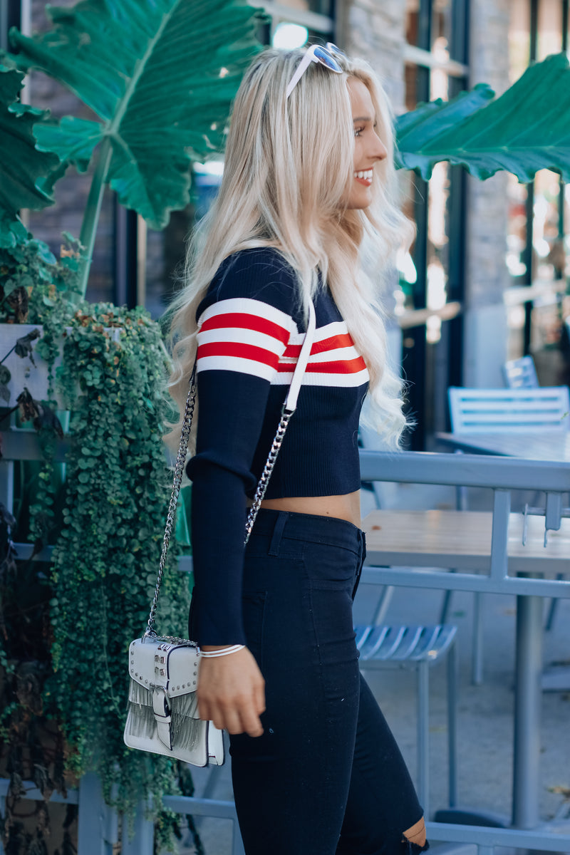 Red and Black Clayton Cropped Sweater