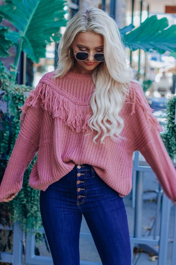 RESTOCKED: Mauve Lana Tassel Sweater