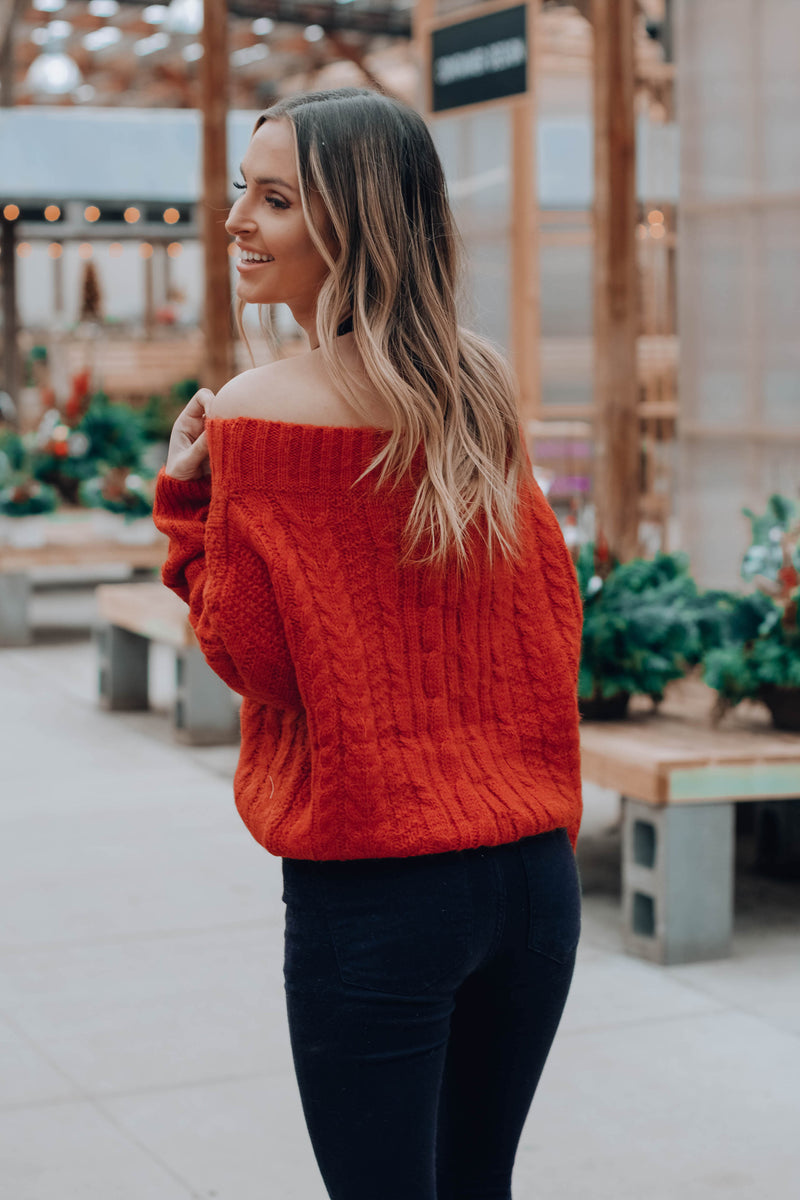 Rust Jamie Off The Shoulder Sweater