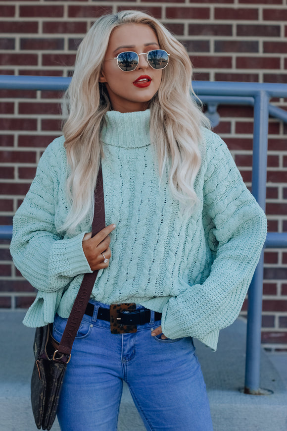 Jax Dessert Sage Cropped Turtleneck