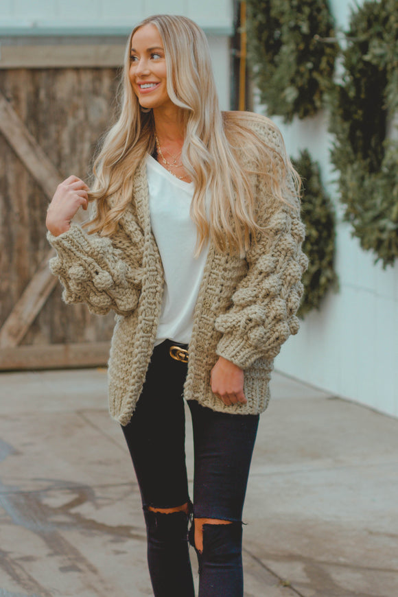 Light Green Pom Pom Cardigan