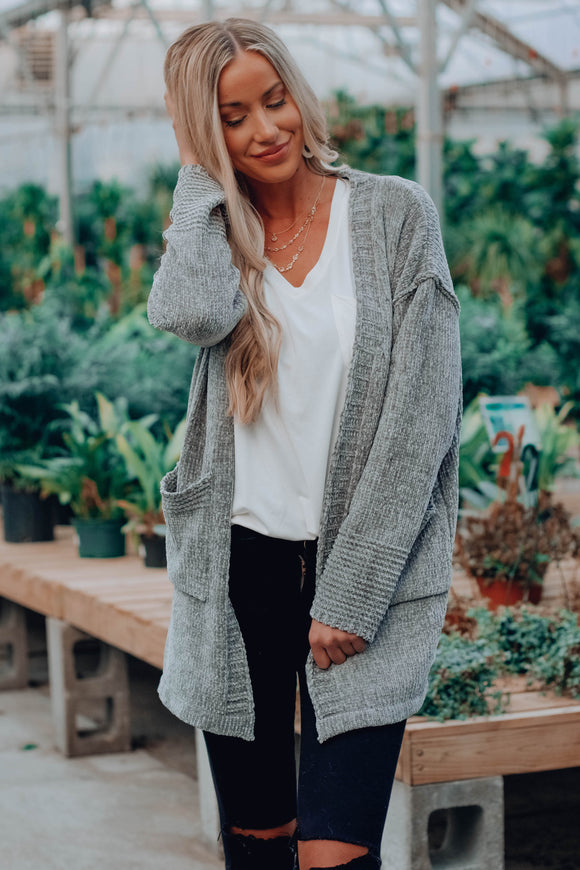 Grey Over Seam Cardigan