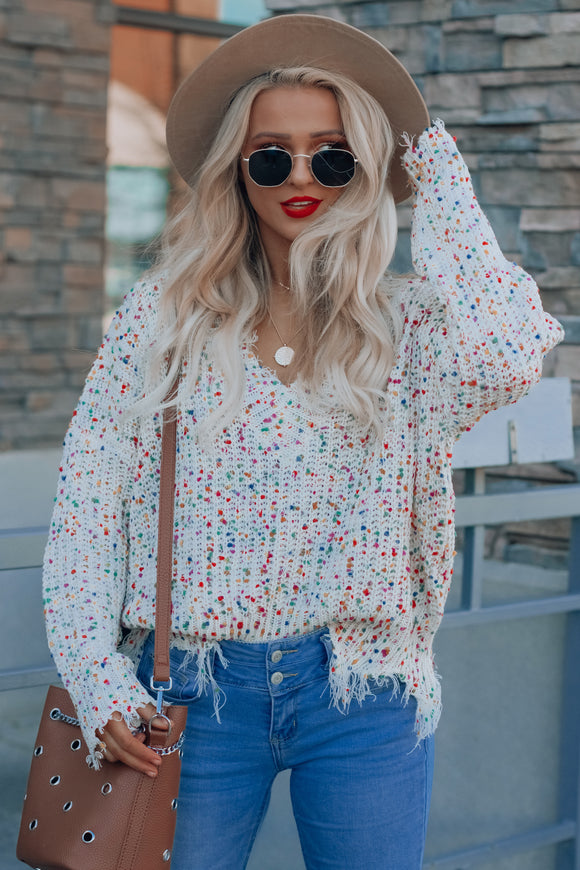 Sweet Girl Distressed Sweater