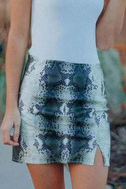 Faux Snake Mini Skirt