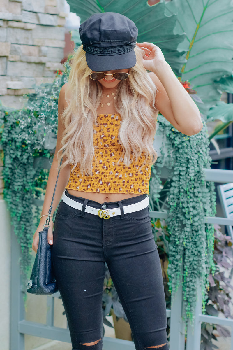 Mustard Animal Print Tube Top