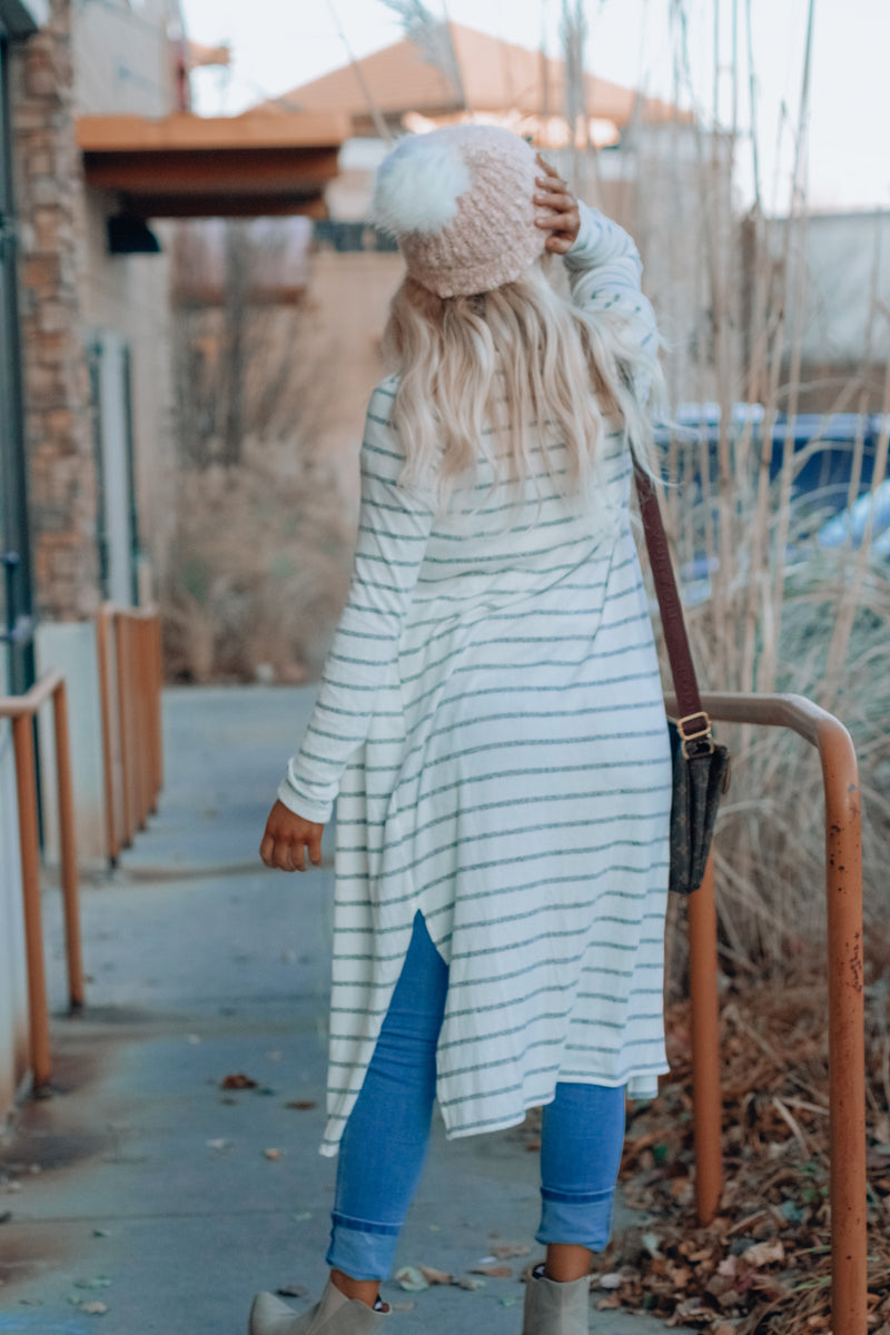Soft Striped Maxi Cardi