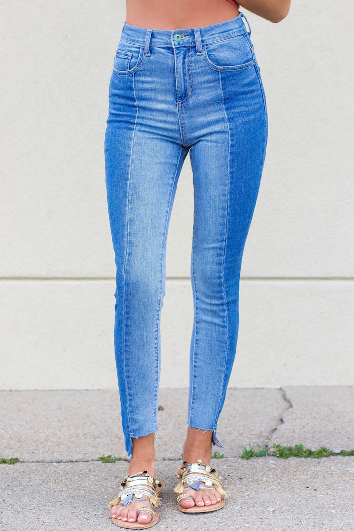 Light Wash Color Block Denim