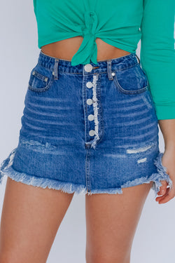 Button Fly Denim Skirt