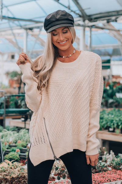 Taupe Denton Zipper Sweater