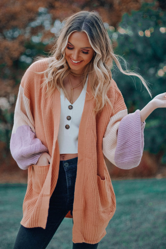 Give Love Color Block Cardigan